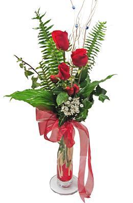Çiçek gönderin cam vazoda 3 gül çiçekleri  Diyarbakır yurtiçi ve yurtdışı çiçek siparişi