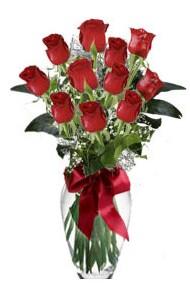 11 adet kirmizi gül vazo mika vazo içinde  Diyarbakır çiçek , çiçekçi , çiçekçilik