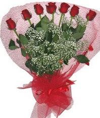 7 adet kipkirmizi gülden görsel buket  Diyarbakır internetten çiçek satışı