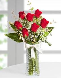 Cam vazoda 7 adet kırmızı gül  Diyarbakır çiçek servisi , çiçekçi adresleri