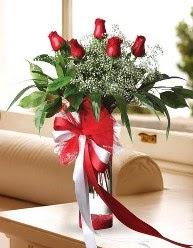 Camda 5 kırmızı gül tanzimi  Diyarbakır hediye sevgilime hediye çiçek