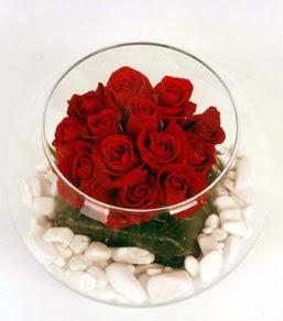 Cam fanusta 11 adet kırmızı gül  Diyarbakır anneler günü çiçek yolla