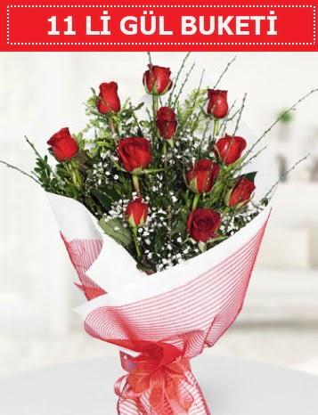 11 adet kırmızı gül buketi Aşk budur  Diyarbakır uluslararası çiçek gönderme