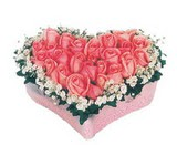 kalp içerisinde 9 adet pembe gül  Diyarbakır çiçek online çiçek siparişi