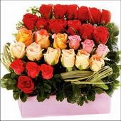 15 adet renkli gül ve cam   Diyarbakır güvenli kaliteli hızlı çiçek