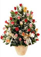 91 adet renkli gül aranjman   Diyarbakır uluslararası çiçek gönderme