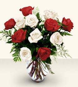 Diyarbakır çiçek satışı  6 adet kirmizi 6 adet beyaz gül cam içerisinde