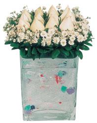 Diyarbakır güvenli kaliteli hızlı çiçek  7 adet beyaz gül cam yada mika vazo tanzim