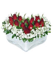 Diyarbakır İnternetten çiçek siparişi  mika kalp içerisinde 9 adet kirmizi gül