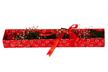 Diyarbakır hediye sevgilime hediye çiçek  kutu içerisinde 1 adet kirmizi gül
