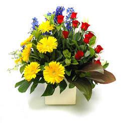 Diyarbakır çiçek yolla  9 adet gül ve kir çiçekleri cam yada mika vazoda