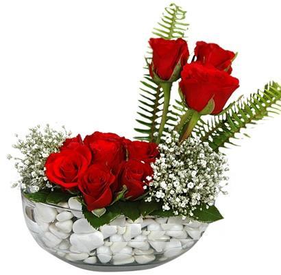 cam içerisinde 9 adet kirmizi gül  Diyarbakır çiçek gönderme sitemiz güvenlidir