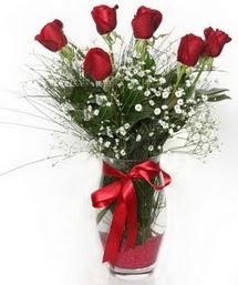 7 adet gülden cam içerisinde güller  Diyarbakır çiçek , çiçekçi , çiçekçilik