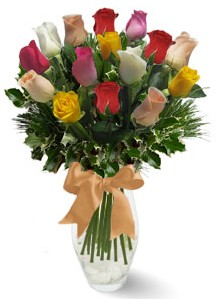 15 adet vazoda renkli gül  Diyarbakır online çiçekçi , çiçek siparişi