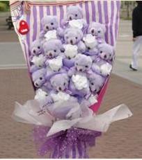 11 adet pelus ayicik buketi  Diyarbakır uluslararası çiçek gönderme