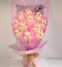 11 adet pelus ayicik buketi  Diyarbakır 14 şubat sevgililer günü çiçek