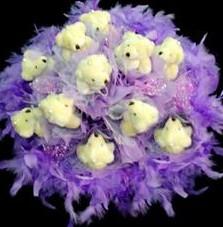 11 adet pelus ayicik buketi  Diyarbakır çiçek servisi , çiçekçi adresleri