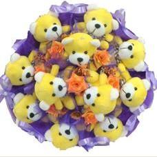 11 adet pelus ayicik buketi  Diyarbakır internetten çiçek satışı