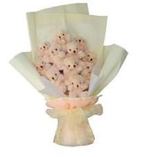 11 adet pelus ayicik buketi  Diyarbakır çiçek mağazası , çiçekçi adresleri