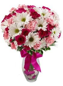 Diyarbakır yurtiçi ve yurtdışı çiçek siparişi  Karisik mevsim kir çiçegi vazosu