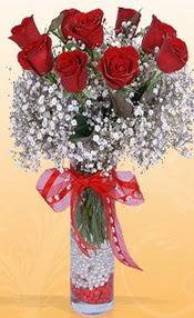 9 adet kirmizi gül cam yada mika vazoda  Diyarbakır internetten çiçek satışı