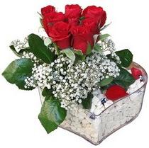Diyarbakır internetten çiçek siparişi  kalp mika içerisinde 7 adet kirmizi gül