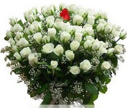 Diyarbakır online çiçekçi , çiçek siparişi  100 adet beyaz 1 adet kirmizi gül buketi