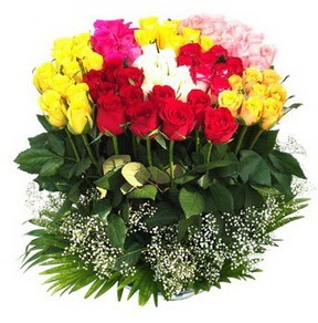 Diyarbakır internetten çiçek satışı  51 adet renkli güllerden aranjman tanzimi