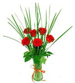 Diyarbakır çiçek servisi , çiçekçi adresleri  6 adet kırmızı güllerden vazo çiçeği