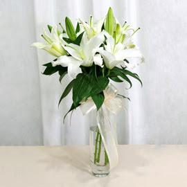 Diyarbakır ucuz çiçek gönder  2 dal kazablanka ile yapılmış vazo çiçeği