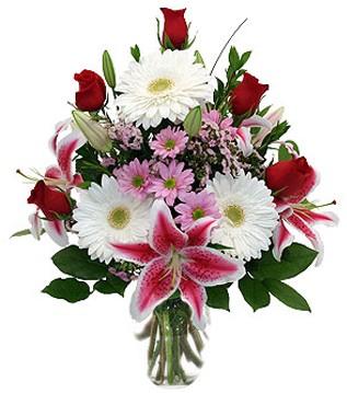 Diyarbakır internetten çiçek satışı  1 dal kazablanka 5 gül ve kırçiçeği vazosu