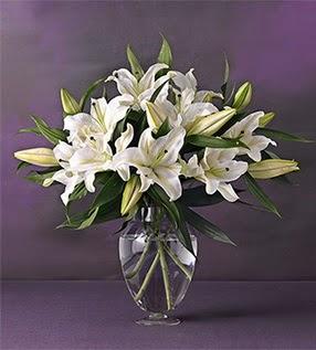 Diyarbakır cicekciler , cicek siparisi  4 dal cazablanca vazo çiçeği