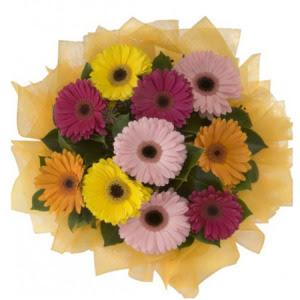 Diyarbakır cicekciler , cicek siparisi  11 adet karışık gerbera çiçeği buketi