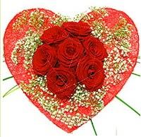 Mika kalp içerisinde 7 adet kırmızı gül  Diyarbakır güvenli kaliteli hızlı çiçek