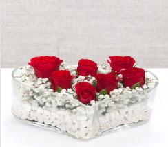 kalp içerisinde 7 adet kırmızı gül  Diyarbakır çiçek gönderme sitemiz güvenlidir