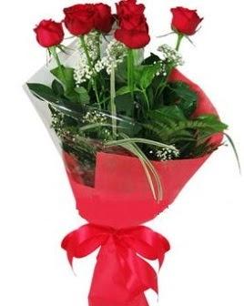 5 adet kırmızı gülden buket  Diyarbakır çiçekçiler