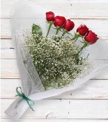 5 kırmızı gülden sade buket  Diyarbakır 14 şubat sevgililer günü çiçek