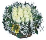 Diyarbakır çiçek yolla , çiçek gönder , çiçekçi   Beyaz harika bir gül sepeti