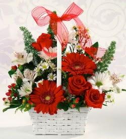 Karışık rengarenk mevsim çiçek sepeti  Diyarbakır İnternetten çiçek siparişi