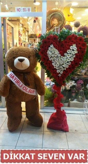 1.5 Metre peluş ayı ve Kalp  Diyarbakır uluslararası çiçek gönderme
