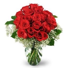 25 adet kırmızı gül cam vazoda  Diyarbakır çiçek servisi , çiçekçi adresleri