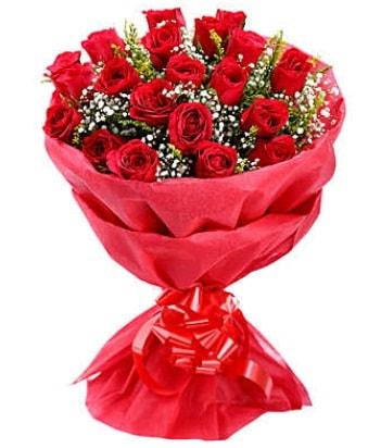 21 adet kırmızı gülden modern buket  Diyarbakır anneler günü çiçek yolla