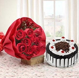 12 adet kırmızı gül 4 kişilik yaş pasta  Diyarbakır çiçek servisi , çiçekçi adresleri