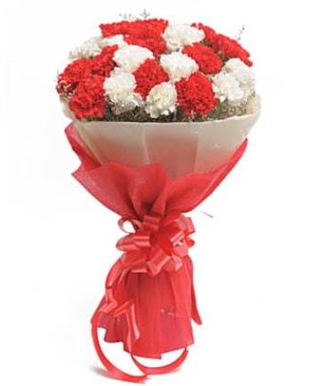 21 adet kırmızı beyaz karanfil buketi  Diyarbakır çiçek online çiçek siparişi