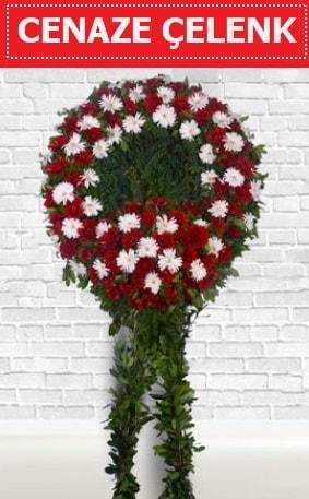 Kırmızı Beyaz Çelenk Cenaze çiçeği  Diyarbakır cicekciler , cicek siparisi