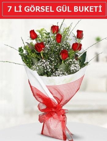 7 adet kırmızı gül buketi Aşk budur  Diyarbakır çiçek online çiçek siparişi