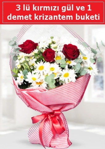 3 adet kırmızı gül ve krizantem buketi  Diyarbakır uluslararası çiçek gönderme